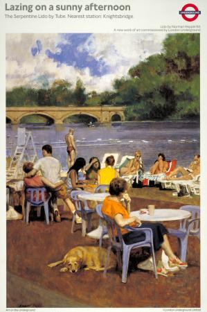 London Underground poster Lazing on a Summer Afternoon by Norman Hepple RA