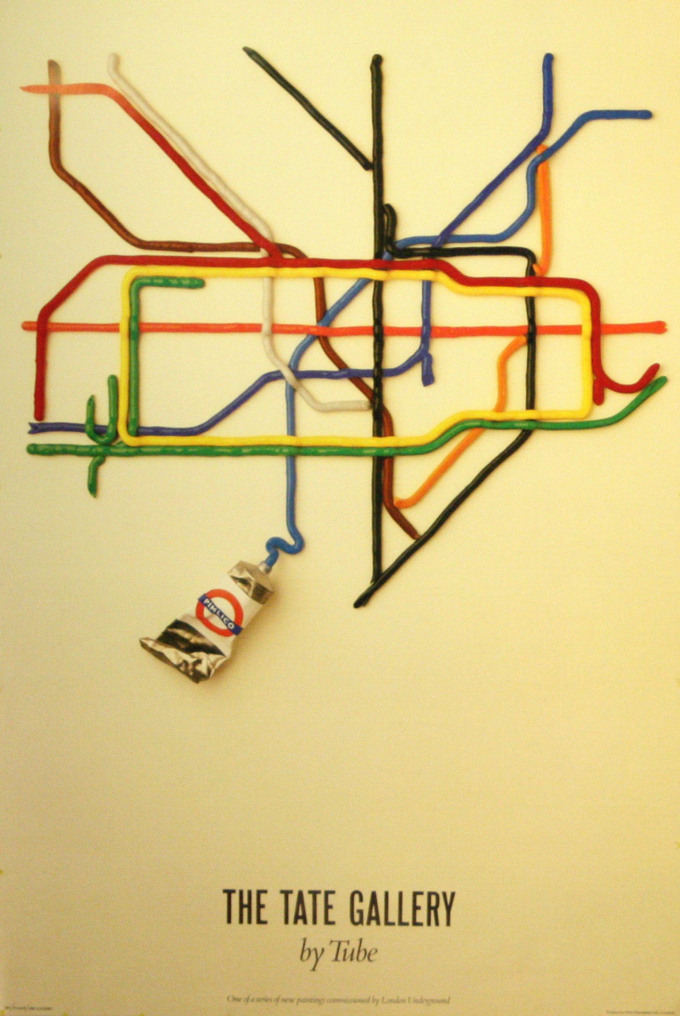 London Underground Poster Tate Gallery by Tube by David Booth Fine White Line