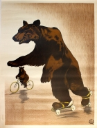 Fairground Bear on Rollerskates and Bicycle