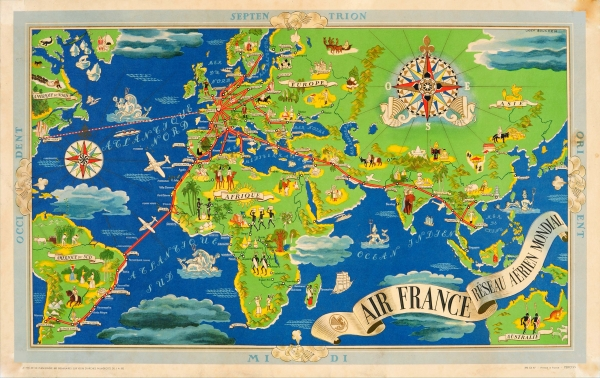 Map Of France Poster.Original Vintage Posters Advertising Posters Air France Reseau