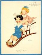 Galeries Lafayette Sports d'Hiver Winter Sports Children Art Deco