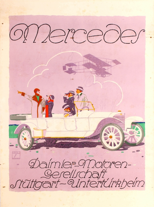 German Car VINTAGE POSTER REPRO 1908 Mercedes Poster for a Mercedes Double Phaeton