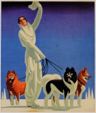 Pullman Winter Playgrounds Art Deco Lady With Dogs