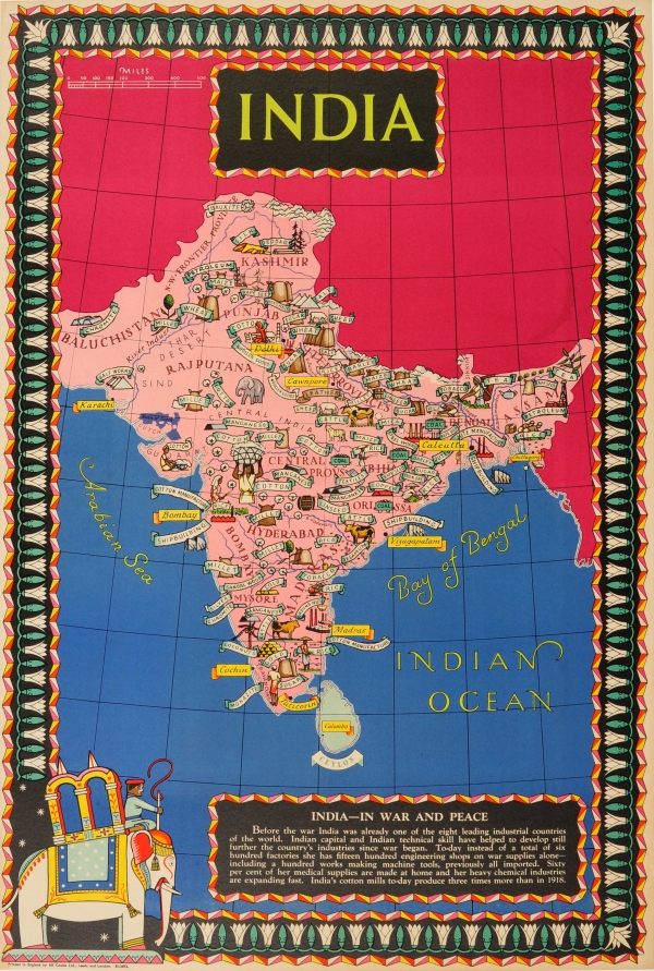 Original vintage posters advertising posters wwii in war and wwii in war and peace india 145000 original vintage world war two pictorial map gumiabroncs Images