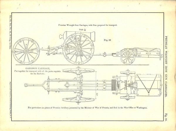 Prussian Wrought Iron Carriages, with Gun prepared for transport