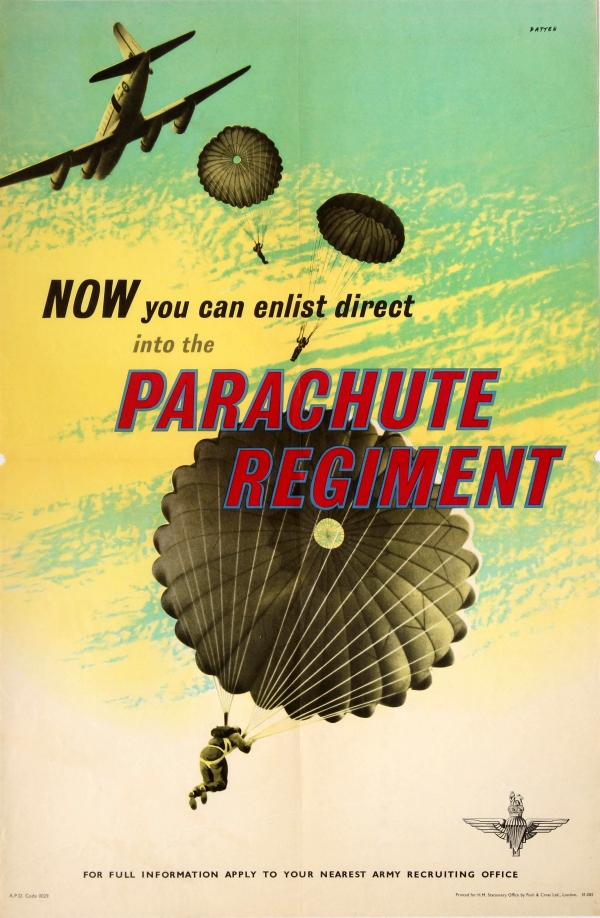vintage army airborne parachute poster
