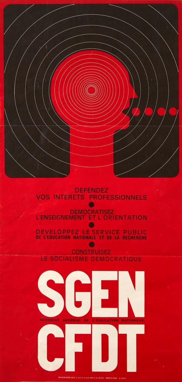 Original Vintage Posters Propaganda Posters Sgen Cfdt National Education Union Modernism Antikbar