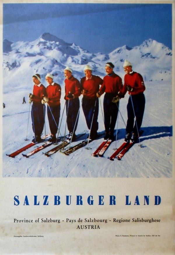 original vintage posters ski posters austria ski salzburger land antikbar. Black Bedroom Furniture Sets. Home Design Ideas