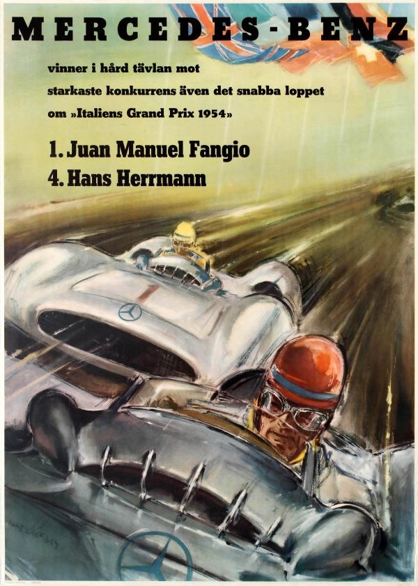 Original vintage posters sport posters mercedes benz for Vintage mercedes benz posters