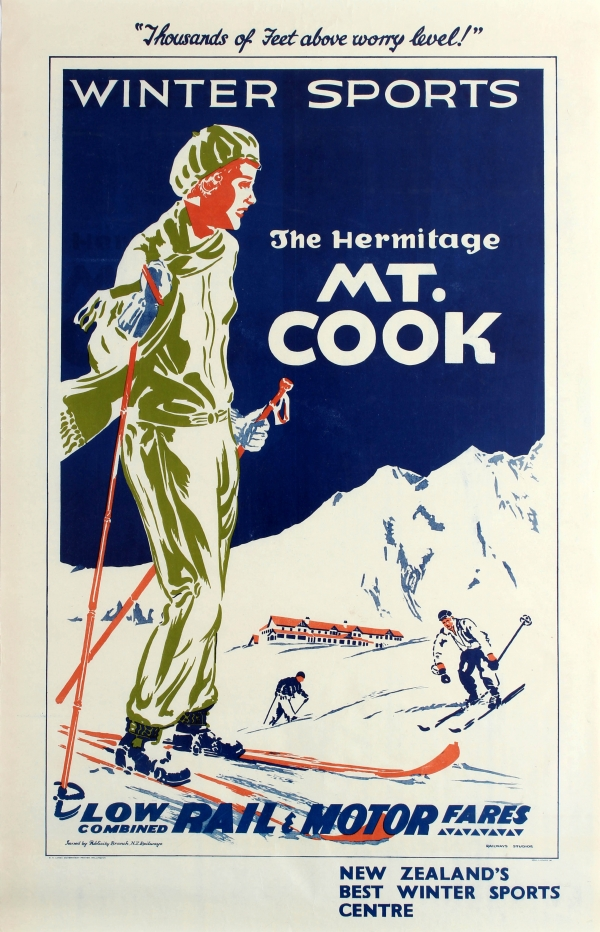 Best Military Branch To Join >> Original Vintage Posters -> Ski Posters -> Mt Cook New Zealand Skiing Railway Studios - AntikBar
