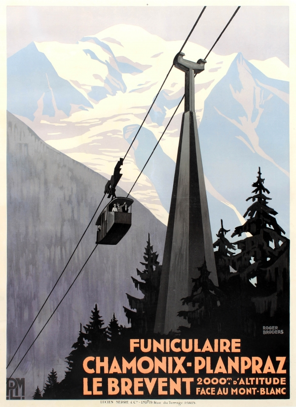 Chamonix Planpraz Le Brevent Cable Car PLM Art Deco Roger Broders