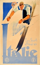 Italy Winter Sports Skier ENIT Art Deco