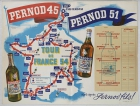 Tour De France 1954 Itinerary Map Pernod Fils