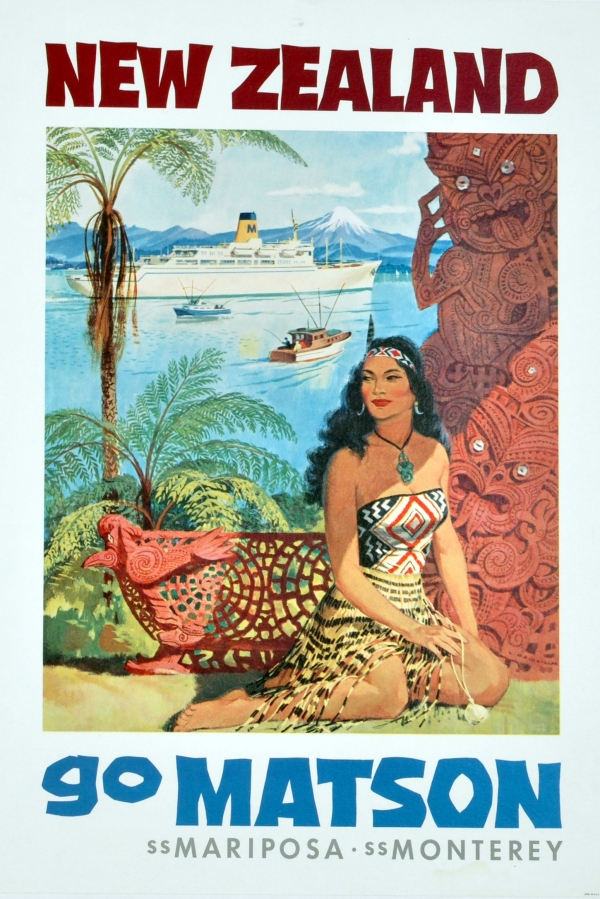 Original Vintage Posters Gt Travel Posters Gt New Zealand Matson Maori Antikbar
