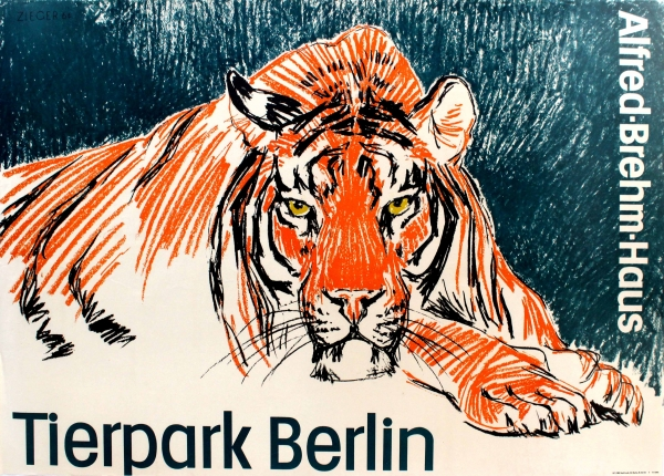 original vintage posters travel posters tierpark berlin zoo tiger antikbar. Black Bedroom Furniture Sets. Home Design Ideas
