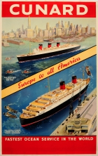 Cunard Europe to all America Queen Mary New York Queen Elizabeth Southampton