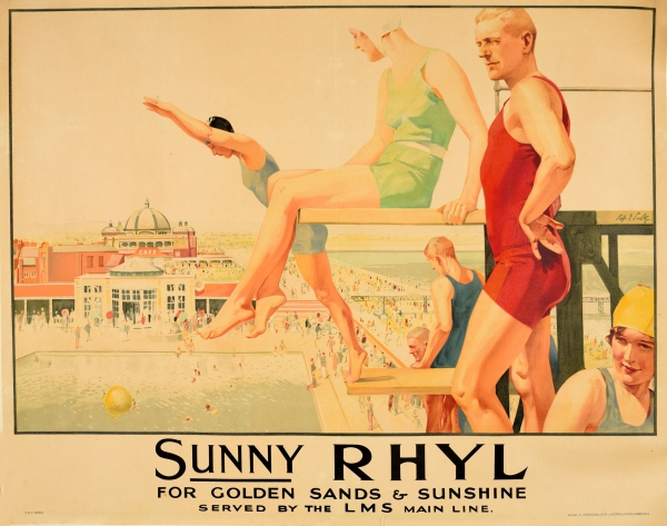 Original Vintage Posters Travel Posters Sunny Rhyl Wales Lms Art Deco Swimmers Antikbar