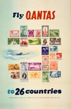 Fly Qantas To 26 Countries Postage Stamps Nanninga