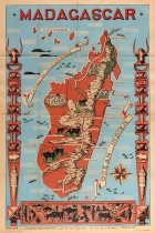Madagascar French Colony Illustrated Map