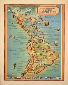 Pan Am Flying Clipper Seaplane South America Map