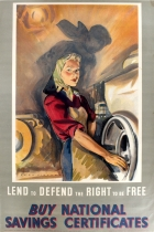 Lend to Defend the Right to Be Free WWII Woman