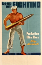 Keep 'Em Fighting Production Wins Wars Stop Accidents WWII