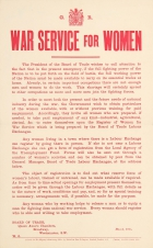 War Service For Women Board Of Trade WWI Emancipation